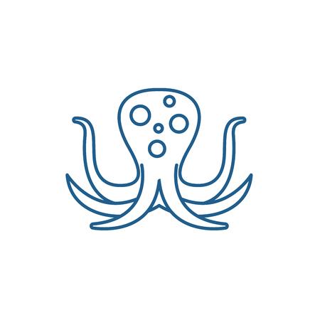 Big octopus line concept icon. Big octopus flat  vector website sign, outline symbol, illustration. Archivio Fotografico - 119919252