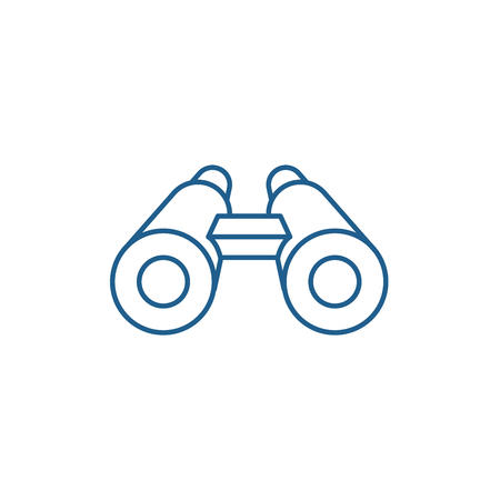 Binoculars line concept icon. Binoculars flat  vector website sign, outline symbol, illustration.
