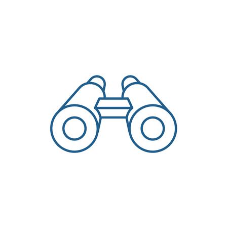 Icono de concepto de línea de binoculares. Binoculares sitio web vector plano signo, símbolo de contorno, Ilustración.
