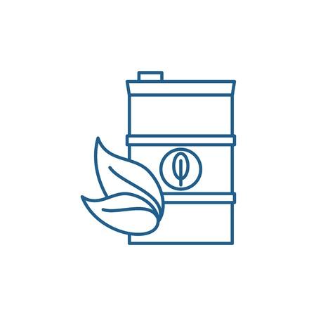Bio brandstof lijn concept icoon. Biobrandstof platte vector website teken, overzichtssymbool, afbeelding.
