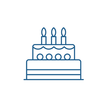 Birthday cake line concept icon. Birthday cake flat  vector website sign, outline symbol, illustration. Stock Illustratie