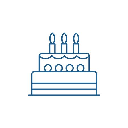 Ikona koncepcja linii tort urodzinowy. Tort urodzinowy płaski wektor strony internetowej znak, symbol konspektu, ilustracja.
