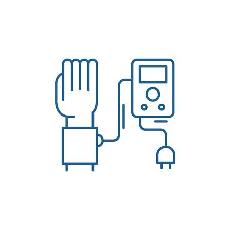 Blood pressure measurement line concept icon. Blood pressure measurement flat  vector website sign, outline symbol, illustration.