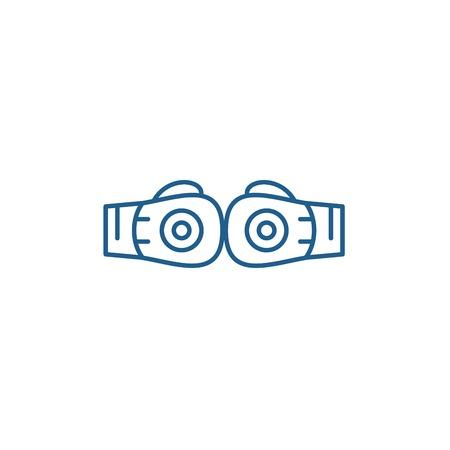 Boxing gloves line concept icon. Boxing gloves flat  vector website sign, outline symbol, illustration. Banque d'images - 119919168