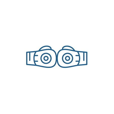 Boxing gloves line concept icon. Boxing gloves flat  vector website sign, outline symbol, illustration.