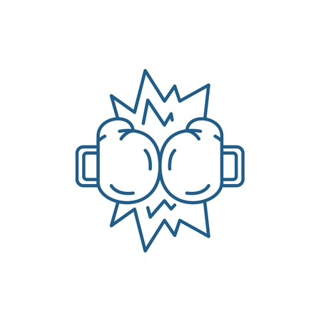 Boxing tournament line concept icon. Boxing tournament flat  vector website sign, outline symbol, illustration.