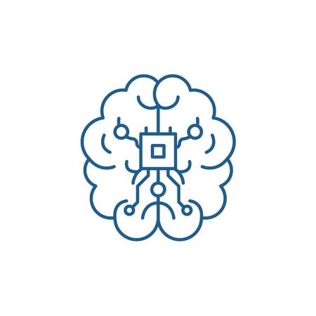 Brain chipset line concept icon. Brain chipset flat  vector website sign, outline symbol, illustration.