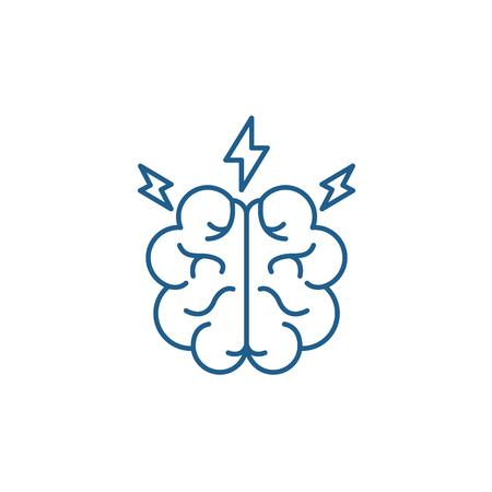 Brainstorm line concept icon. Brainstorm flat  vector website sign, outline symbol, illustration. Archivio Fotografico - 119919174