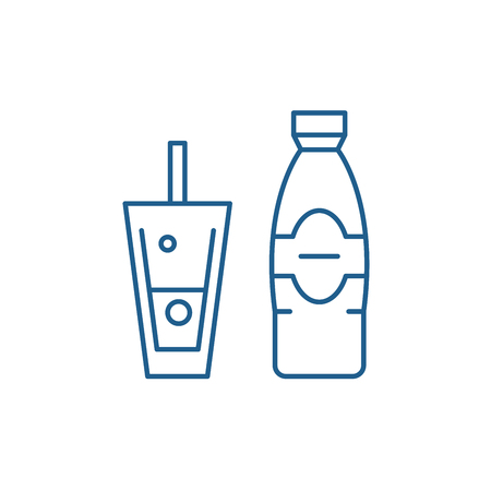 Bottle and glass of mineral water line concept icon. Bottle and glass of mineral water flat  vector website sign, outline symbol, illustration.