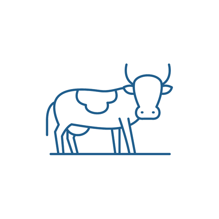 Bull line concept icon. Bull flat  vector website sign, outline symbol, illustration.