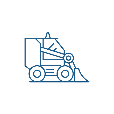 Bulldozer line concept icon. Bulldozer flat  vector website sign, outline symbol, illustration. Illustration