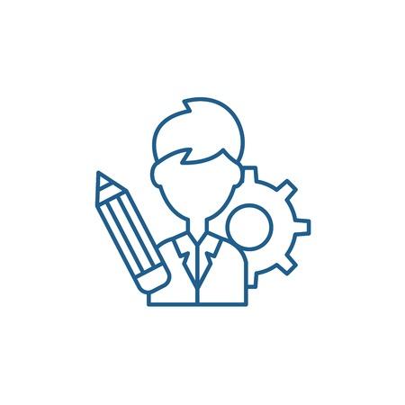 Business consultant line concept icon. Business consultant flat  vector website sign, outline symbol, illustration. Ilustração