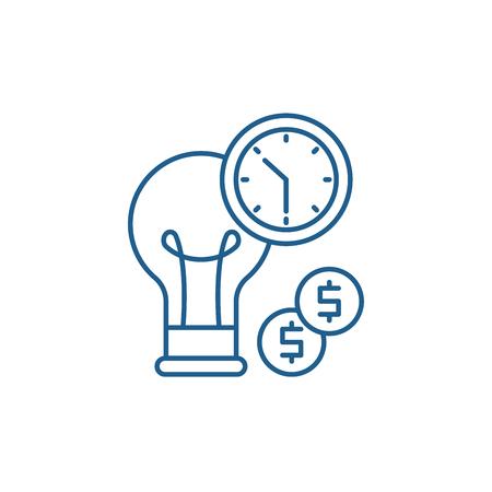 Business efficiency line concept icon. Business efficiency flat  vector website sign, outline symbol, illustration.