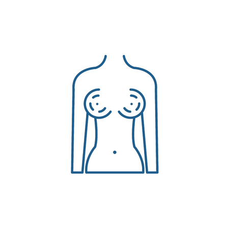 Breast augmentation line concept icon. Breast augmentation flat  vector website sign, outline symbol, illustration.
