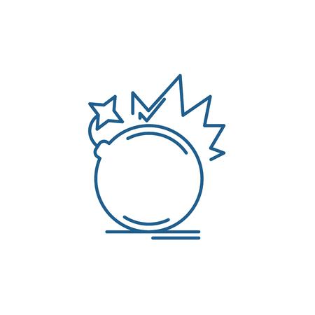 Bomb line concept icon. Bomb flat  vector website sign, outline symbol, illustration.