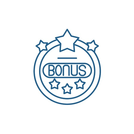 Bonus chip line concept icon. Bonus chip flat  vector website sign, outline symbol, illustration.