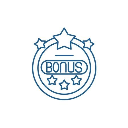 Bonus chip line concept icon. Bonus chip flat  vector website sign, outline symbol, illustration.