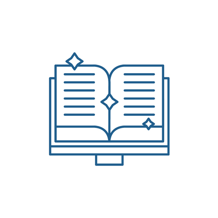 Book of fairy tales line concept icon. Book of fairy tales flat  vector website sign, outline symbol, illustration.