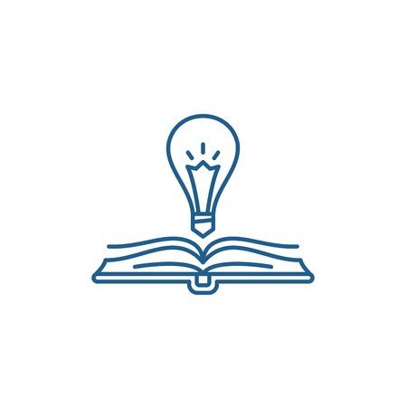 Book wisdom line concept icon. Book wisdom flat  vector website sign, outline symbol, illustration.