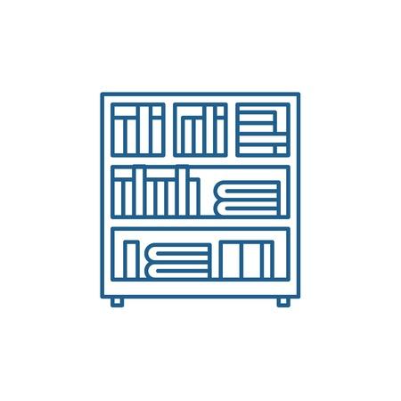 Bookcase line concept icon. Bookcase flat  vector website sign, outline symbol, illustration. Illusztráció
