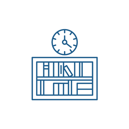 Bookshelf with clock line concept icon. Bookshelf with clock flat  vector website sign, outline symbol, illustration. 向量圖像