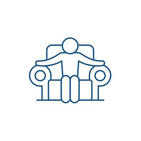 Boss line concept icon. Boss flat  vector website sign, outline symbol, illustration. Foto de archivo - 119918088