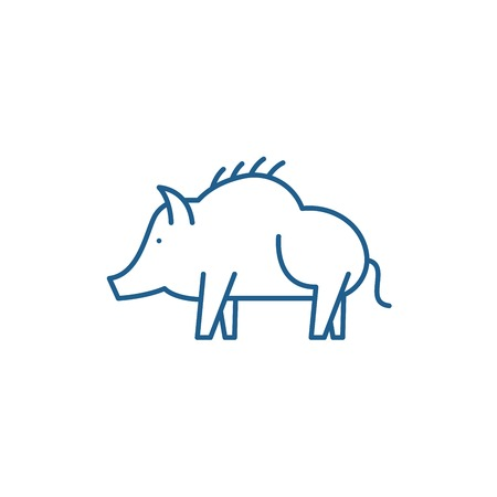 Boar line concept icon. Boar flat  vector website sign, outline symbol, illustration. Stock Illustratie