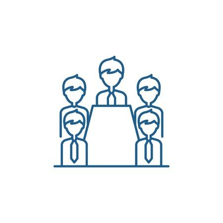 Board of directors line concept icon. Board of directors flat  vector website sign, outline symbol, illustration.