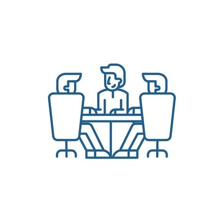 Board of directors meeting line concept icon. Board of directors meeting flat  vector website sign, outline symbol, illustration.