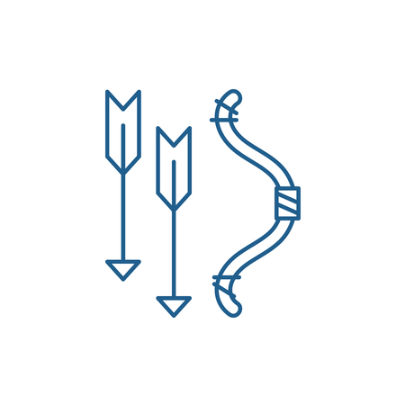 Bow and arrows line concept icon. Bow and arrows flat  vector website sign, outline symbol, illustration.