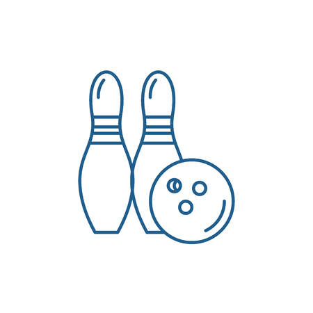 Bowling line concept icon. Bowling flat  vector website sign, outline symbol, illustration.