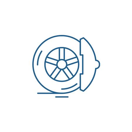 Icône de concept de ligne de plaquettes de frein. Plaquettes de frein vector plate signe site Web, symbole du contour, illustration.