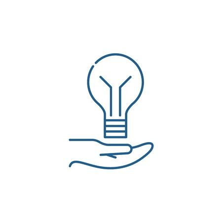 Bright idea line concept icon. Bright idea flat  vector website sign, outline symbol, illustration.