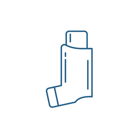 Bronchial asthma line concept icon. Bronchial asthma flat  vector website sign, outline symbol, illustration.