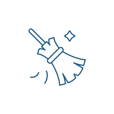 Broom line concept icon. Broom flat  vector website sign, outline symbol, illustration.