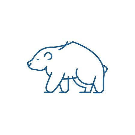 Brown bear line concept icon. Brown bear flat  vector website sign, outline symbol, illustration. Illustration
