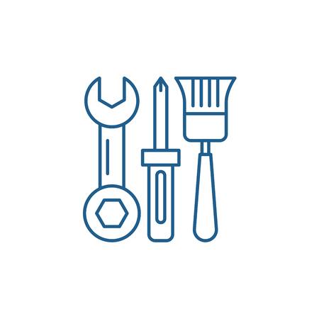 Building tools line concept icon. Building tools flat  vector website sign, outline symbol, illustration.