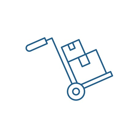 Bulky delivery line concept icon. Bulky delivery flat  vector website sign, outline symbol, illustration. Stockfoto - 119917989