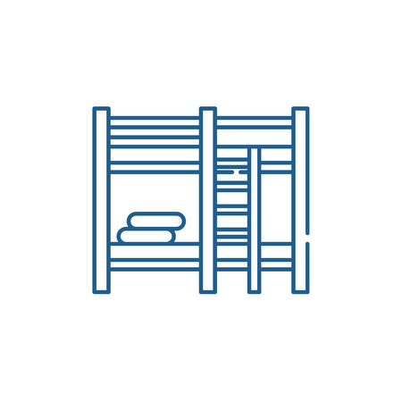 Bunk bed line concept icon. Bunk bed flat  vector website sign, outline symbol, illustration.