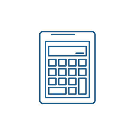Business calculation  line concept icon. Business calculation  flat  vector website sign, outline symbol, illustration.