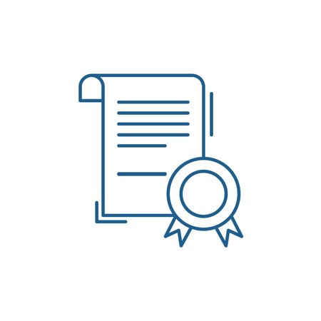 Business certificate line concept icon. Business certificate flat  vector website sign, outline symbol, illustration.  イラスト・ベクター素材