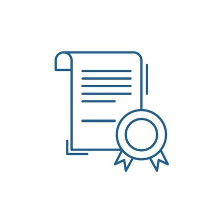 Business certificate line concept icon. Business certificate flat  vector website sign, outline symbol, illustration. Illustration
