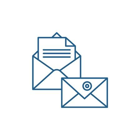 Icône de concept de ligne de correspondance commerciale. Signe de site Web de vecteur plat de correspondance d'affaires, symbole du contour, illustration.