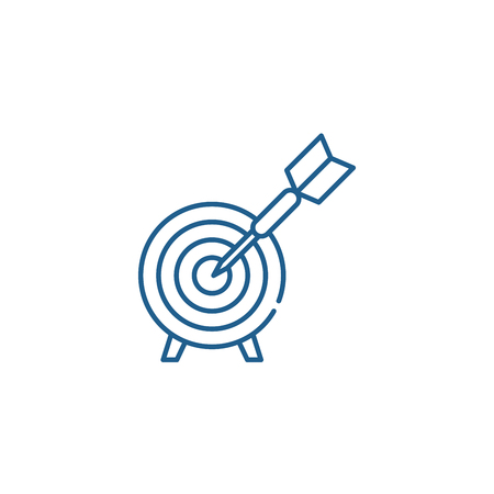 Business goals line concept icon. Business goals flat  vector website sign, outline symbol, illustration.