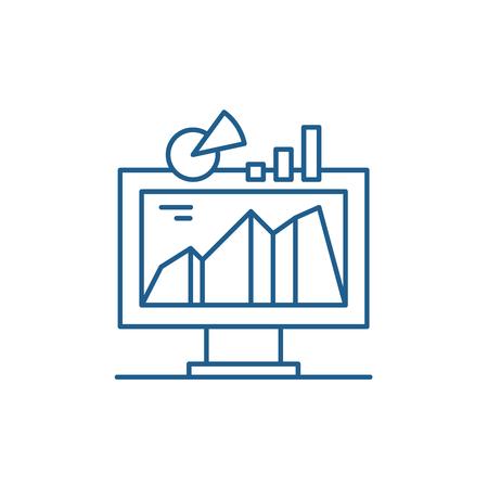 Icono de concepto de línea de sistema indicador de negocio. Sistema indicador de negocio vector plano sitio web de señal, símbolo de contorno, Ilustración Ilustración de vector