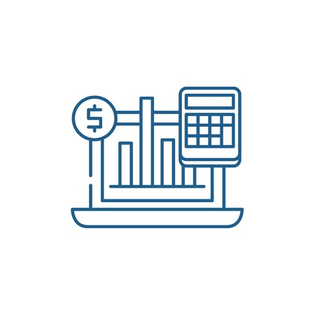 Business indicators line concept icon. Business indicators flat  vector website sign, outline symbol, illustration.