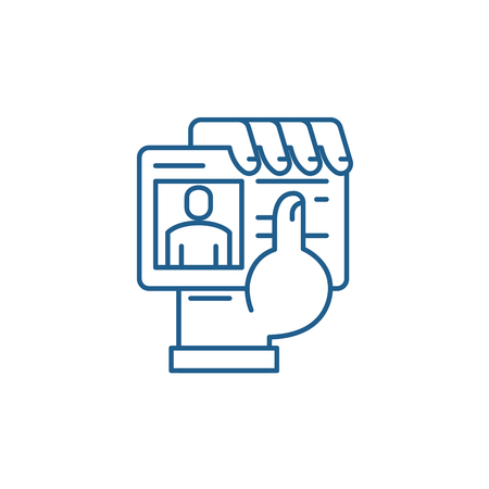 Business pass in hand line concept icon. Business pass in hand flat  vector website sign, outline symbol, illustration. Illustration