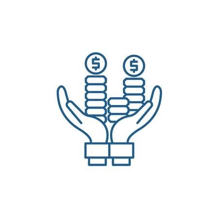 Business profit line concept icon. Business profit flat  vector website sign, outline symbol, illustration. Foto de archivo - 119917913