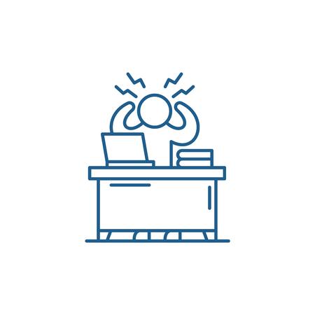 Business stress line concept icon. Business stress flat  vector website sign, outline symbol, illustration.