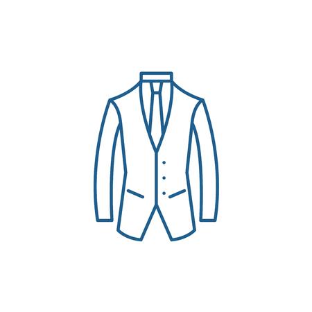Business suit line concept icon. Business suit flat  vector website sign, outline symbol, illustration.